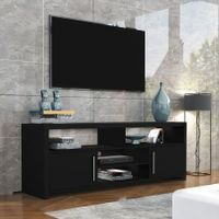 140cm TV Stand Cabinet 2 Doors Wood Entertainment Unit Storage Shelf - Black