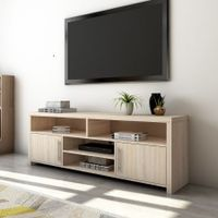 140cm TV Stand Cabinet 2 Doors Wood Entertainment Unit Storage Shelf - Oak