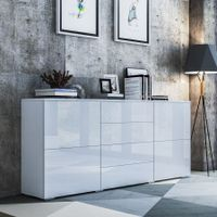 Sideboard Table Buffet Storage Cabinet High Gloss Cupboard w/4 Doors and 4 Drawers