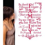 FAMLIY ART WORD Removable Wall Decals Wall Stickers