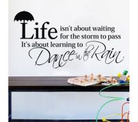 LIFE AND UMBRELLA WORDS DIY Removable Art Wall Sticker