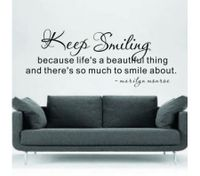 KEEP SMILING DIY Removable Art Wall Sticker Decor Mural Decal