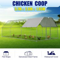 5.7M x 2.8M Large Metal Chicken Coop Walk-in Cage Run House Shade Pen W/ Cover