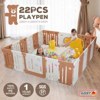 22 Panel Baby Playpen Kids Safety Gates Interactive Toddler Play Room Child Barrier