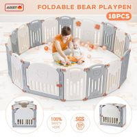 ABST 18 Sided Foldable Panel Baby Playpen Interactive Baby Room Kids Safety Gates Bear