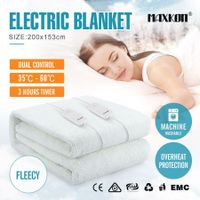 Maxkon Queen 200X153CM Dual Controller Artificial Wool Electric Blanket