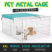 2.2M Pet Metal Cage Playpen Dog Cat Enclosure with Fabric Cover