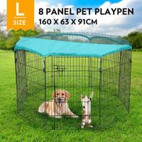 "36"" 8-Panel Pet Playpen Puppy Dog Cat Enclosure with Green Fabric Cover 63x91CM/ Panel"