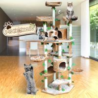 2.1M Multi-Level Cat Scratching Post Climbing Tree-Extra Large-Beige