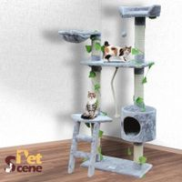 145cm Cat Gym Scratching Post Tree Medium-Grey