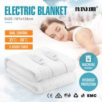 Maxkon Double 187X138CM Dual Controller Washable Electric Blanket