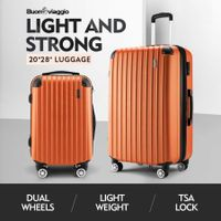 2 Pcs Luggage Set Suitcase Lightweight Trolley Carry On Travel TSA Hard Case - Orange