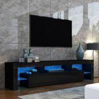 200cm TV Stand Cabinet 2 Drawers LED Entertainment Unit Wood Storage Shelf - Black