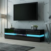 TV Stand Cabinet 177cm Wood Entertainment Unit LED Gloss Storage Drawer - Black