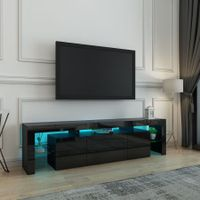 200cm TV Stand Cabinet LED Entertainment Unit Wood Storage Furniture w/2 Drawers & 2 Doors - Black