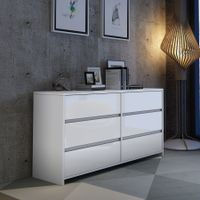 Modern 6 Drawer Chest Dresser High Gloss Storage Cabinet Wood Bedroom Furniture - White