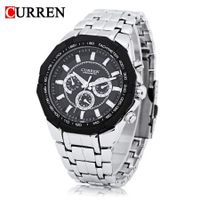 Curren 8084 Male Quartz Watch 3ATM Decorative Sub-dial Stainless Steel Band Wristwatch