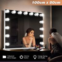 Maxkon Hollywood Frameless Makeup Mirror 15 LED Lights Vanity Mirror w/Dimmer Control