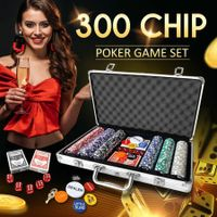 300 Matte Frosted Chips Professional Poker Card Game Play Set Casino Dice Aluminium Case