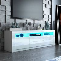 Modern TV Stand Cabinet 160cm Wood Entertainment Unit High Gloss Furniture w/2 Drawers 2 Doors White