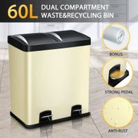 60L Dual Pedal Compartment Rubbish Bin Powder Coated Steel Kitchen Garbage Waste Bin - Beige