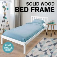 New Pine Wood Bed Frame King Single Bedroom Furniture for Adult Kid White
