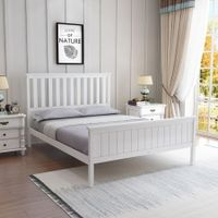 Double Size Wooden Bed Frame Pine Platform Mattress Base w/Headboard - White