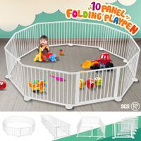10 Panel Wooden Playpen Kids Baby Toddler Fence Play Yard-White