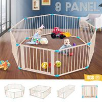 Burlywood Wooden Baby/Pet Playpen 8 Panels Lockable Door Adjustable Shape