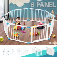 White Wooden Baby/Pet Playpen 8 Panels Lockable Door Adjustable Shape