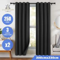 LUXDREAM 2X Blockout Curtains 3-Layer Insulating Room Darkening Drapes 300X230CM