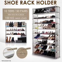 10 Tiers Shoe Rack Cabinet Storage Organizer 50 Pairs Shoe Holder