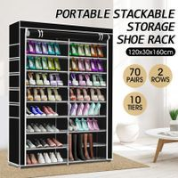 Shoe Rack Storage Organiser 2 Columns 10 Layers Non-woven Fabric Cover-Black