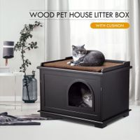Wooden Pet House Cat Enclosure Decorative Litter Box Furniture W/ Cushion