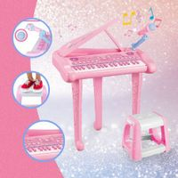 37 Key Kids Electronic Keyboard Piano Organ Musical Toy w/Microphone & Stool