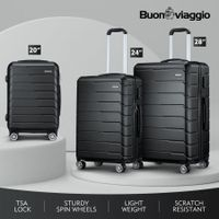 3 Pcs ABS Luggage Suitcase Set Hard Shell Case Black w/TSA Lock