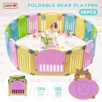 ABST 16 Sided Panel Kids Baby Playpen Interactive Baby Room Foldable Safety Gates Bear Design