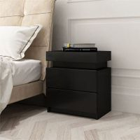 Black Bedside Table Cabinet 2 Drawers Nightstand Side Storage Wood Bedroom Furniture