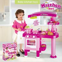 Toy Kitchen for Imaginative Play w/ Kids Kitchen Accessories Cooking Toys-Pink