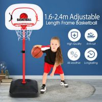 2.4m Large Kids Portable Basketball Hoop Stand System Set Adjustable Height Net Ring Ball