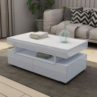 New Modern White Coffee Table 4-Drawer Storage Shelf High Gloss Wood Living Room Furniture