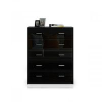 6 Chest of Drawers Tallboy Dresser Table High Gloss Storage Cabinet Bedroom Furniture - Black