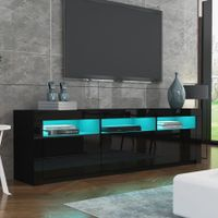180cm Modern Wooden TV Unit Side Cabinet RGB LED High Gloss Front-Black