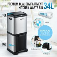34L Two Layer Press Top Dustbin Pedal Bin