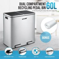 60L Dual Compartment Stainless Steel Dustbin w/ Lids and Pedals