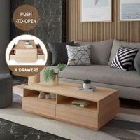Modern Coffee Table Oak Finish 4 Drawers 4 Shelves