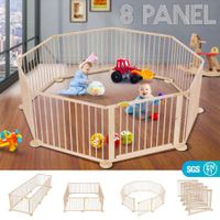 8 Panel Wooden Kids Playpen Foldable Removable - Burlywood