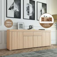 180cm Corner Cabinet Sideboard 4 Doors 1 Drawer-Oak