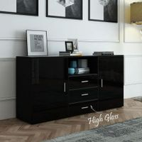 High Gloss Front 2 Door 3 Drawer Buffet Cabinet Black