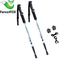 2Pcs/lot Anti Shock Nordic Walking Sticks Telescopic Trekking Hiking Poles Ultralight Walking Canes With Rubber Tips Protectors(White)